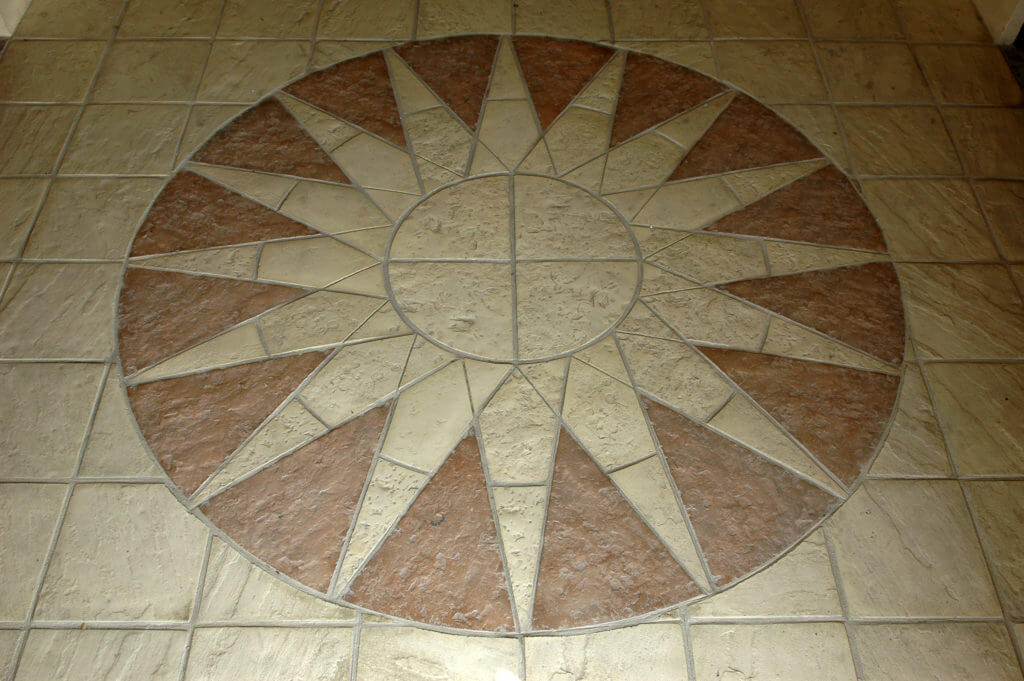Sun circle concrete paving slab