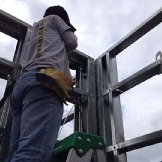 Man working on light Gauge Steel Construction