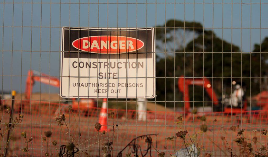 Danger Construction Site Sign - Health & Safety In Construction Banner image